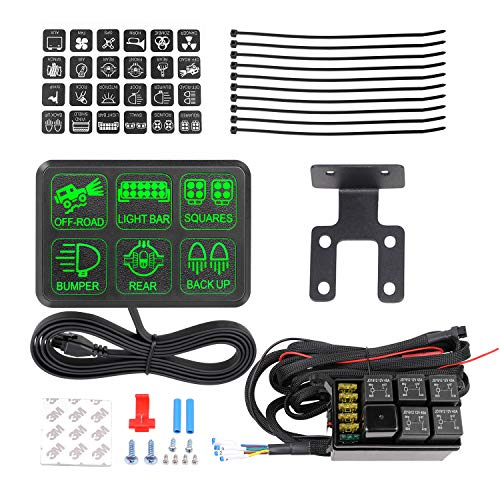 AKD Part 6 Gang Switch Panel Circuit Control Box Universal Electronic Relay System Wiring Harness On Off Button for SUV ATV UTV Truck Marine