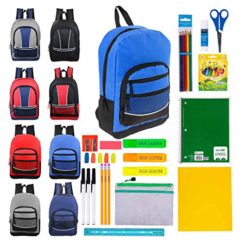 Case of 12 Pack Bundles - 17 Inch Bulk Backpacks with 44 Piece Wholesale School Supply Kits in 4 Assorted Styles