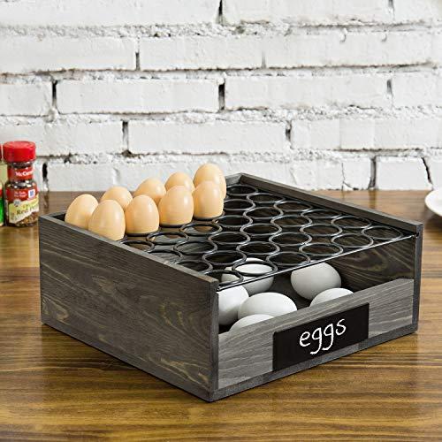 MyGift Cesta de exhibición para 36 huevos, tiene una etiqueta de pizarra. Se compone de 2 niveles de madera gris vintage y alambre de...