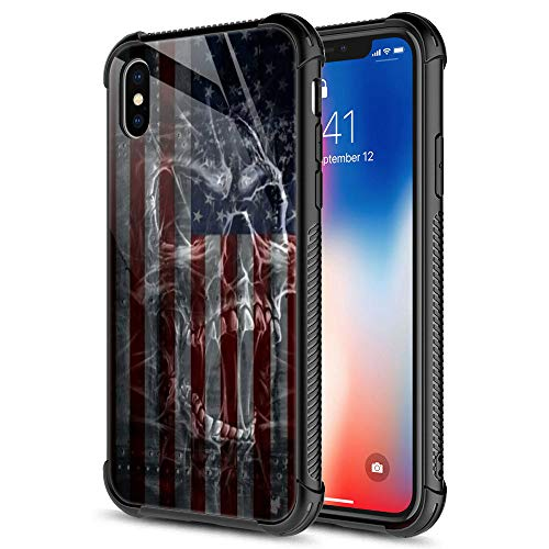 iPhone XR Case, Blue Red Flag Dark White Skull iPhone XR Cases, Tempered Glass Back+Soft Silicone TPU Shock Fall Prevention Protective Case for Apple iPhone XR
