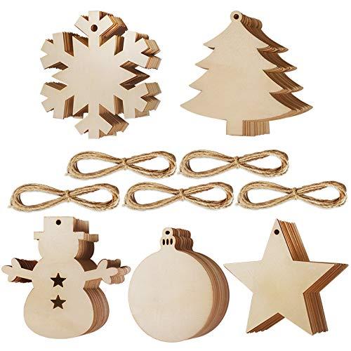 50 Stück Weihnachtsbaum Anhänger DIY Weihnachtsdekoration Holz Scheiben Holzsterne Holz Schneeflocke und Schneemann Runde Holzscheiben Holz Weihnachtsbaum Weihnachten Deko zum Bemalen und Verzieren