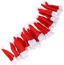 Flameer 20Pcs Christmas Mini Red Santa Hats- Lollipop Bottle Candy Cover Cap Santa Claus Hats for Christmas Party Decor Doll Handy Craft