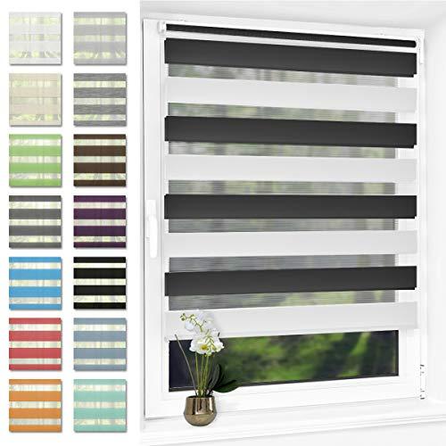 Doppelrollo klemmfix Duo Rollo ohne Bohren,Rollos für Fenster und Tür,lichtdurchlässig und verdunkelnd 60 x 150 cm Schwarz-Weiß