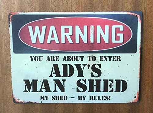 Ainiteey Tin Sign Man Shed Metal Vintage Retro Sign Personalized Man Cave 20 x 30 cm