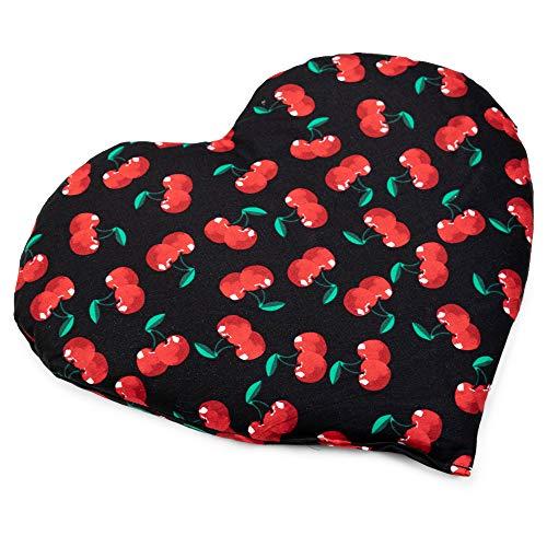 Almohadilla térmica en corazón 30x25cm - Saquito térmico. Pequeño cojín con semillas. Semillas de grosella (color: cherry-black)