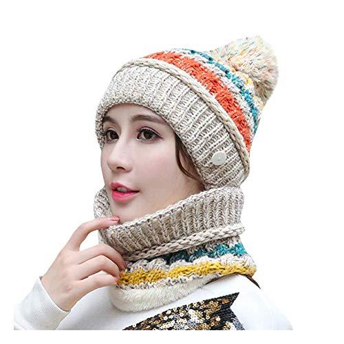 hat Sombrero Invierno de Mujer más Terciopelo Ciclismo a Prueba de Viento Sombrero de otoño e Invierno Sombrero de Lana cálido Beige Todo-Partido Sombrero de Punto (Color : Beige)