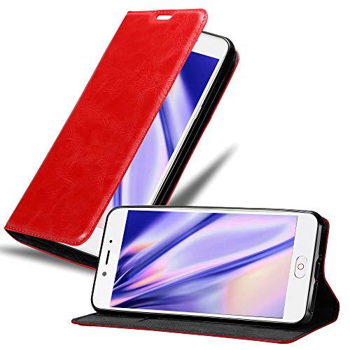 Cadorabo Hülle für ZTE Nubia N2 in Apfel ROT - Handyhülle mit Magnetverschluss, Standfunktion & Kartenfach - Hülle Cover Schutzhülle Etui Tasche Book Klapp Style