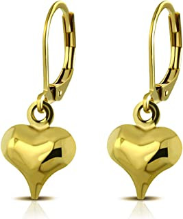 Women Stainless Steel Heart Love Cute Dangle Drop Lever Back Earrings