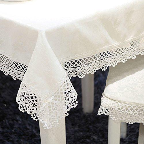 DDGOD Vendimia Cordón Paño de Tabla,Europeo Manteles Blanco Bordado Café Cubierta de la Tabla Flores Camino de Mesa para el hogar Mesita Cena-Arroz Blanco 40x220cm(16x87inch) 40x220cm(16x87inch)