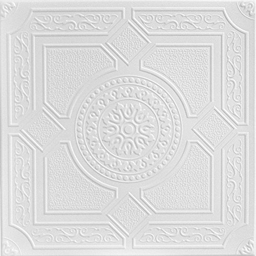 A La Maison Ceilings R30 Kensington Gardens Foam Glue-up Ceiling Tile (128 sq. ft./Case), Pack of 48, Plain White