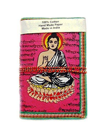Rastogi Handicrafts Handmade Paper Lokta Paper Eco Friendly Paper Diary Pink Buddha The God of Peace - Size 6 X 4 Inch