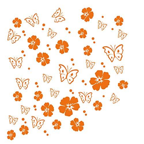 kleb-Drauf   19 Blüten, 19 Schmetterlinge und 42 Punkte   Orange - matt   Autoaufkleber Autosticker Decal Aufkleber Sticker   Auto Car Motorrad Fahrrad Roller Bike   Deko Tuning Stickerbomb Styling