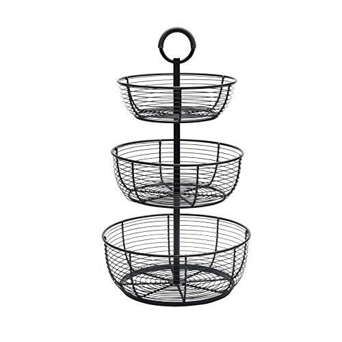 Gourmet Basics by Mikasa Round Wrap 3-Tier Metal Floor Standing Fruit/Home Storage Basket, Easy Assembly, Antique Black
