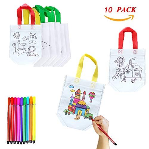 XUNKE DIY Graffiti Bolsas para Colorear, 10 Pcs Graffiti Bags Ideal para Fiestas de cumpleaños, escuelas, guarderías y Celebraciones