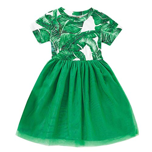 Peuter Meisje Prinses Jurk Kleding St. Patrick's Day Kleding Kid Baby Korte Mouw Planten PrintTulle Pageant Rok Ierse Nationale Dag Groene Outfits Party Prom Jurk voor 0-5 Jaar