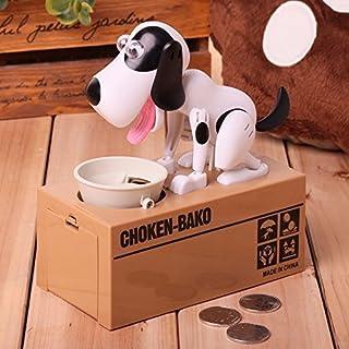 Hapileap Lovely Cachorro de Hambre Comer Perro Niños Banco Coin-eating Ahorro de Dinero Caja de Regalo (Blanco)