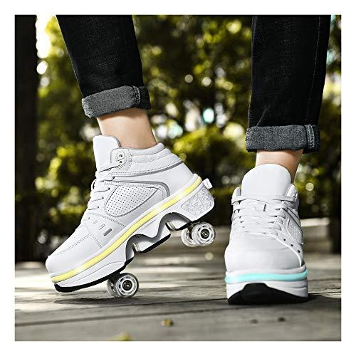 Patines De Ruedas para 4 Ruedas Zapatos con Ruedas Ajustables Luz LED 2 En 1 Zapato con Ruedas Multiusos para Niños Y Niñas,Blanc-EU40/UK6