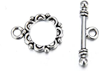 20 Sets Floral Flower Toggle Clasp 14mm T-Bar Closures Antique Silver Tone for for Necklace Bracelet Anklet Jewelry Craft ...