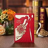 VStoy carré Laser en Dentelle Fleur Cartes d'invitation, Mariage Cartes Invitations avec Nuptiale Douche Anniversaire Quinceanera...