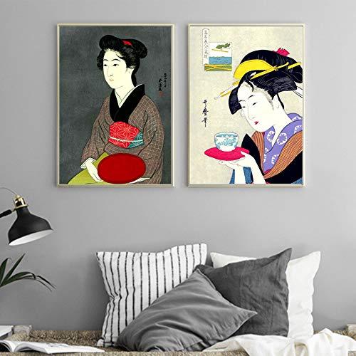 ganlanshu Geisha Japonesa Retro Poster Print Pintura al óleo Mural de la Pared del Arte sobre Lienzo para la decoración de la Sala de Estar,Pintura sin marco-40X55cmx2