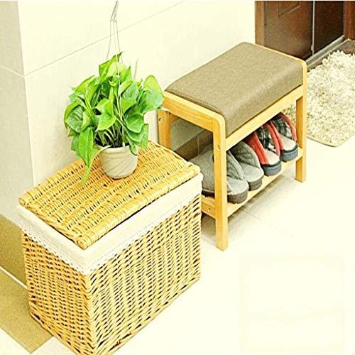 XWZH Taburete de almacenamiento de tela de madera maciza a prueba de polvo, zapatero de montaje simple (color negro)