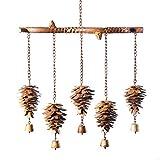 Ancient Graffiti Pine Cone Wind Chimes, Flamed Copper Colored