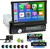 Single Din Car Stereo Compatible with Apple Carplay and Android Auto, 7 Inch...