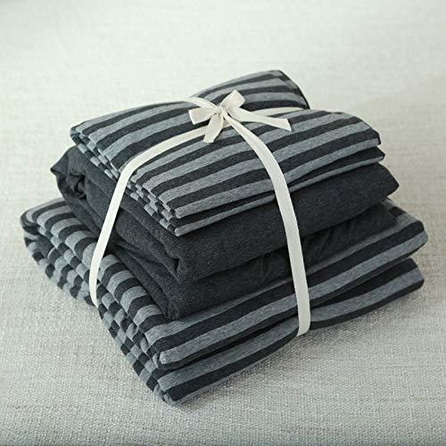 KTUCN Conjunto de Dormitorio de Punto de Jersey de algodón para Hombre, Elegante Funda nórdica de Rayas Negras y Grises con sábana Ajustable de Color sólido, Queen 150x200cm Bed