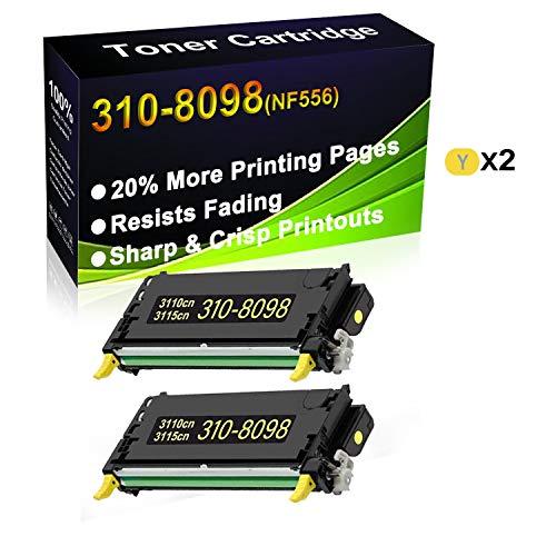 2 unidades (amarillo) compatible con impresoras Dell 310-8098 (NF556) de alto rendimiento para impresoras Dell 3110 3110cn 3115 3115cn