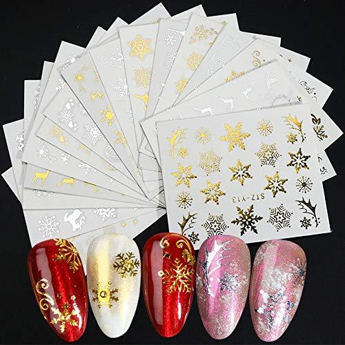 BLOUR 16 unid/Set Pegatinas de Navidad de Invierno para uñas Oro Plata Navidad Copo de Nieve calcomanía de Transferencia de Agua Deslizador decoración de manicura BESTZ-YA