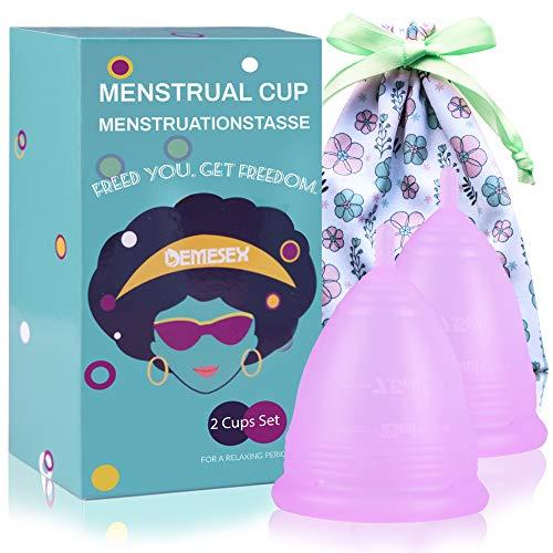 Menstruationstasse Set (1x Große& 1x Klein& Bewahrungsbeutel) medizinischem Silikon BPA Frei Nachhaltige Monatshygiene Alternative zu Tampons/Binden, Menstrual Cup für starke&schwache Blutung,purple