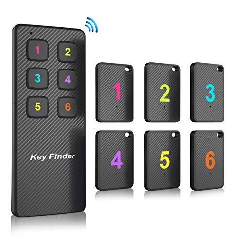Key Finder Makeasy Localizzatore Chiavi Wireless con 6 Ricevitori RF, Include Telecomando con Allarme Sonoro Migliorato per Portafoglio Chiave Valigia Animale Domestico ecc