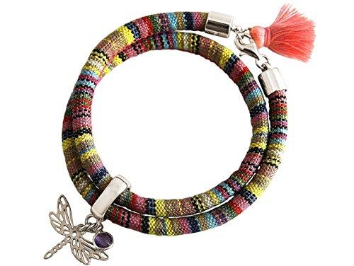 Gemshine - Damen - Armband - Wickelarmband - 925 Silber - Libelle - AZTEC - Amethyst - Rose - Violett