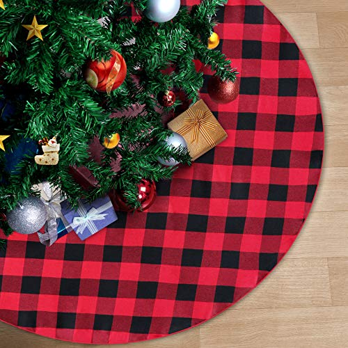 QueenDream 36 Inch Christmas Plaid Tree Skirt Red and Black Christmas Decorations Christmas Tree Mat Carpet Indoor Outdoor Xmas Skirts