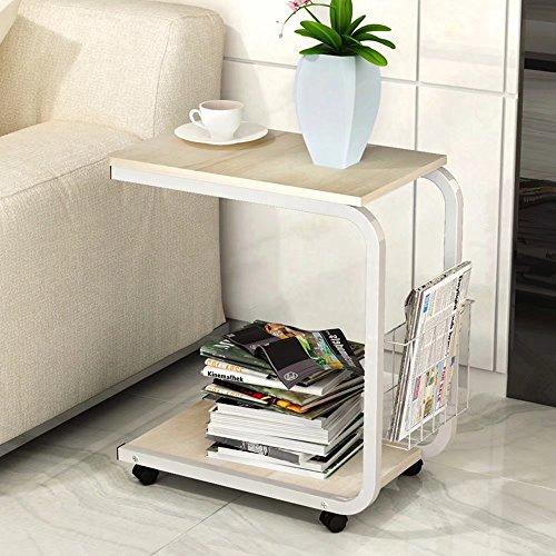 MAIKA HOME - Eenvoudige Moderne Mobiele Kleine Koffietafel/Kast scheidingswand Rack/Woonkamer Sofa Kleine Vierkante Tafel Modern design G