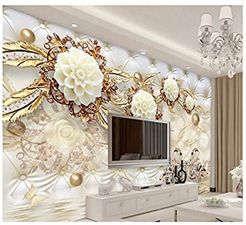 Múltiples estilos Papel tapiz mural 3D Lujoso flor dorada Bola suave Joyería TV Telón de fondo Papel Pared Pintado Papel tapiz 3D Decoración dormitorio Fotomural sala sofá pared mural-430cm×300cm