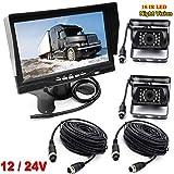 4pin inversione retrovisore sistema 17,8 cm TFT LCD HD monitor con parasole staffa + 2 x LED a infrarossi per visione notturna impermeabile telecamera di retromarcia per camper/Bus/rimorchio/camion