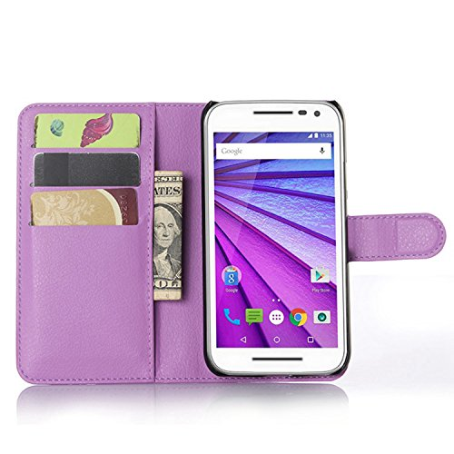 Ycloud Tasche für Motorola Moto G 3 Generation Hülle, PU Ledertasche Flip Cover Wallet Hülle Handyhülle mit Stand Function Credit Card Slots Bookstyle Purse Design lila