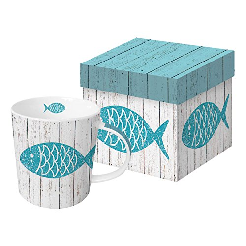 PPD Cabana Fish Trend-Henkelbecher, Kaffeebecher, Kaffee Tasse, Magnesiumporzellan, Blau/Taupe, 350 ml, 602754