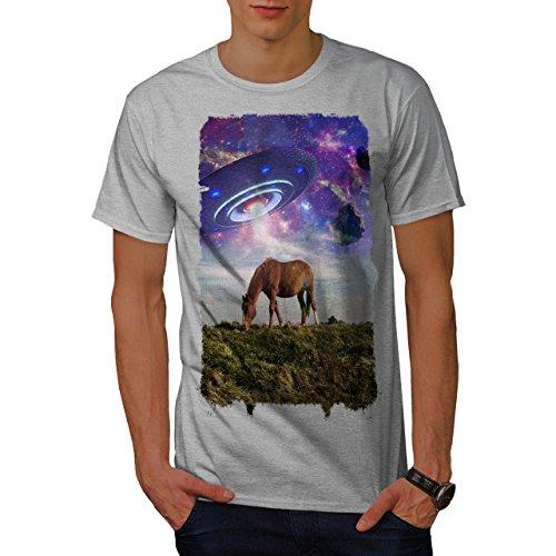 wellcoda Pferd UFO Raum Tier Männer T-Shirt, Pferd Grafikdesign gedruckt Tee