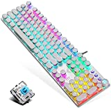 Mechanical Gaming Keyboard,Blue Switches,USB Wired,Retro Steampunk Typewriter Round Keycaps,Metal Panel,Moveable Wrist Rest,for Game and Office,for Laptop Desktop Computer PC (Silver-Blue switches)