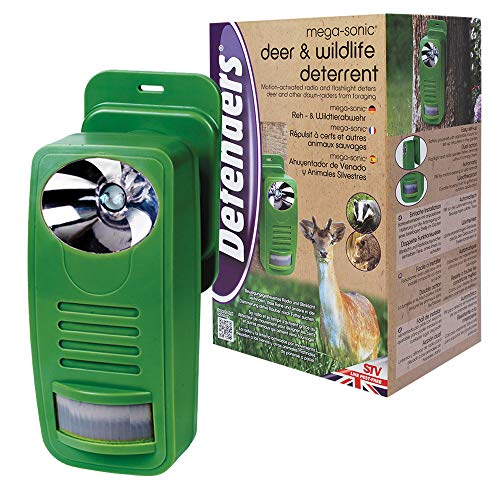 Defenders 12.5 x 17 x 27 cm Deer and Wildlife Deterrent (Weather-Resistant, Motion-Activated, Flashlight and Radio Speaker, Repels Pests from Plants in Gardens), Green