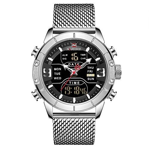 NAVIFORCE Reloj Digital Hombres Relojes Deportivos Impermeables Reloj de Pulsera de Cuarzo Militar de Acero Inoxidable Reloj de Pulsera