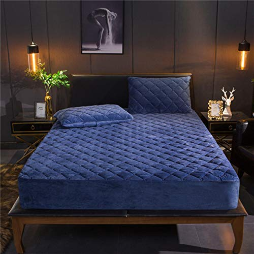 Warm Soft Crystal Velvet Quilted Mattress Cover Plush Thicken Mattress Cover King Queen Size Bed,blue,200x200cm30