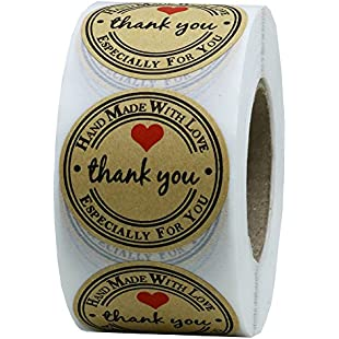 "Hybsk 1.5"" Inch Round Kraft Paper Thank You Hand Made With Love With Red Heart Stickers Total 500 Adhesive Labels Per Roll"