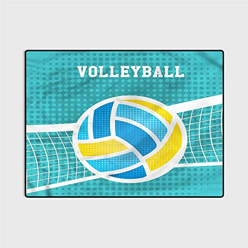 Soft Fluffy Bedroom Rugs Volleyball,Net Ball Outdoors Sports Carpet for Living Room 6.5 x 9.8 Ft