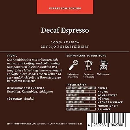 Berliner Kaffeerösterei Decaf Espresso (entkoffeiniert)