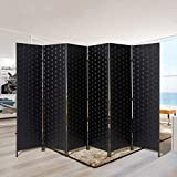 Esright 6 Panels Room Divider, 6 FT Tall Weave Fiber Room Divider, Double Hinged Folding Privacy Screens, Freestanding Room Dividers, Black