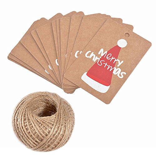 Weihnachten kraftpapier Etiketten Tags 100 Stück Geschenkanhänger Anhänger Etiketten mit Jute-Schnur 30 Meter Vervollkommnen Sie für das Dekorieren von Weihnachtsbaum, handgemachte Arbeit