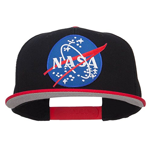 e4Hats.com Lunar NASA Patched Two Tone Snapback - Red Black OSFM